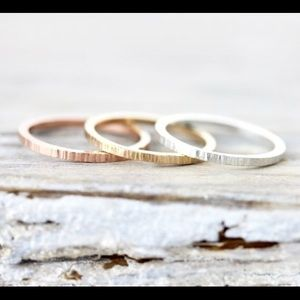 Jewelry - Rose gold and sterling silver lined stacking rings